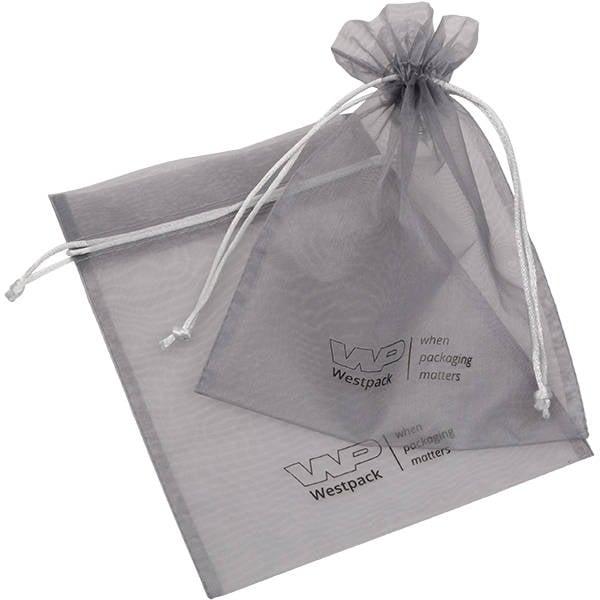 Grootverpakking Groot Organzazakje, logo op zakje Zilvergrijs 180 x 240