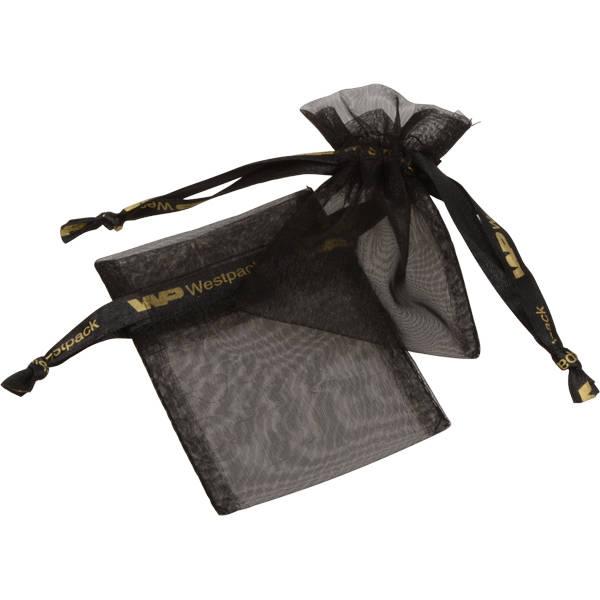 Grootverpakking Mini Organzazakje, logo op lint Zwart 70 x 90