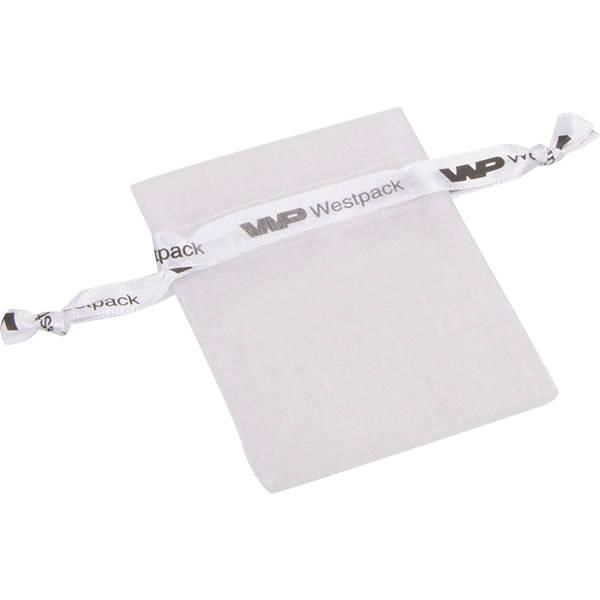 Grootverpakking Mini Organzazakje, logo op lint Wit 70 x 90