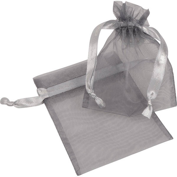 Grootverpakking Klein Organzazakje, logo op lint Zilvergrijs 90 x 120