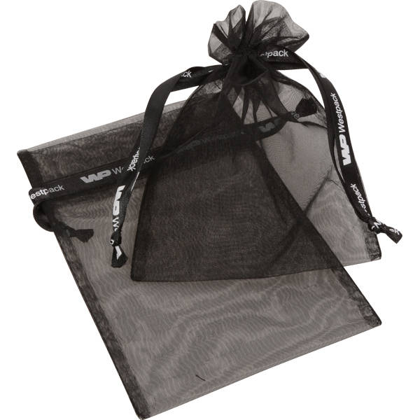 Grootverpakking Medium Organzazakje, logo op lint Zwart 120 x 170