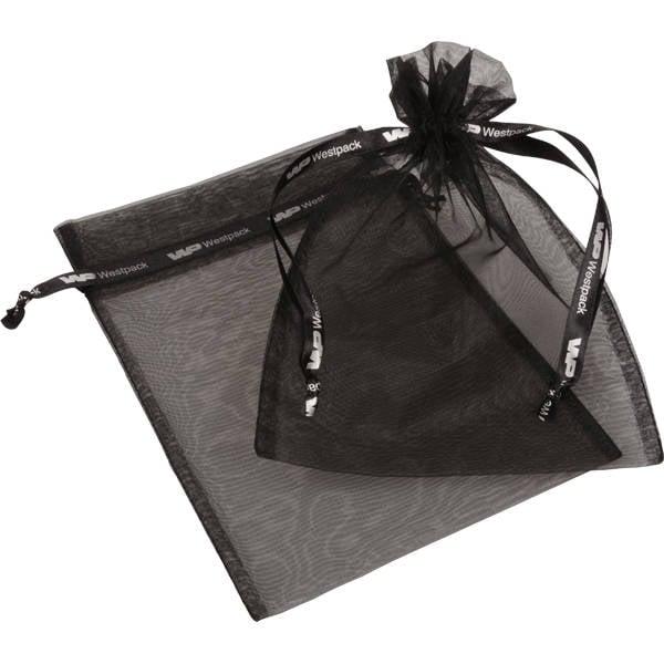 Grootverpakking Groot Organzazakje, logo op lint Zwart 180 x 240