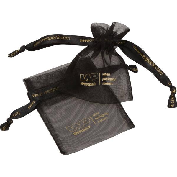 Bourse Mini voile organdi, logo sur bourse+ruban Noir 70 x 90