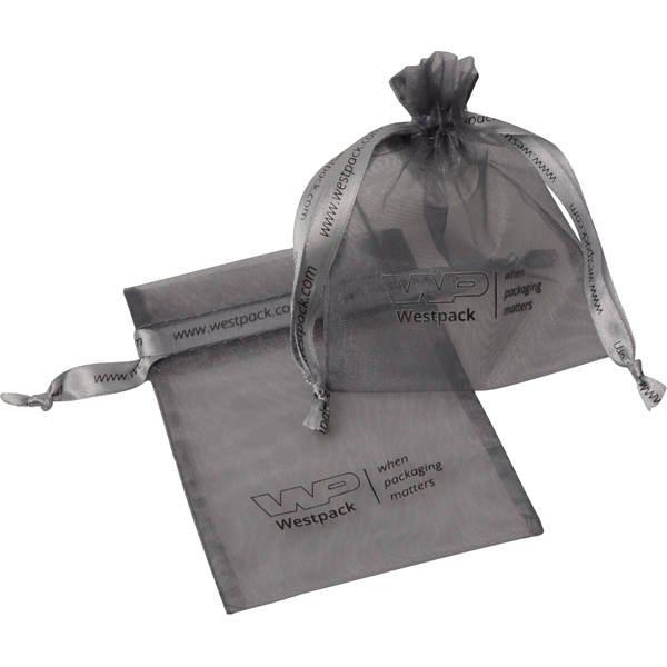 Petite Bourse voile organdi, logo sur bourse+ruban Argent 90 x 120