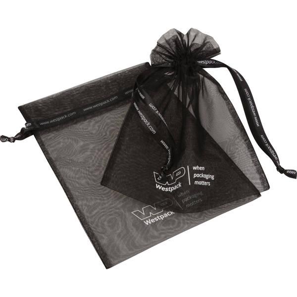 Grootverpakking Groot Organzazakje, met 2x logo Zwart 180 x 240