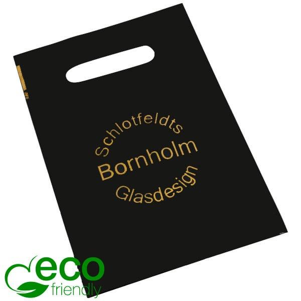 Sacs en plastique ECO avec impression, mini Plastique recyclé noir mat/ Imprimé 1 couleur 180 x 250 50 my