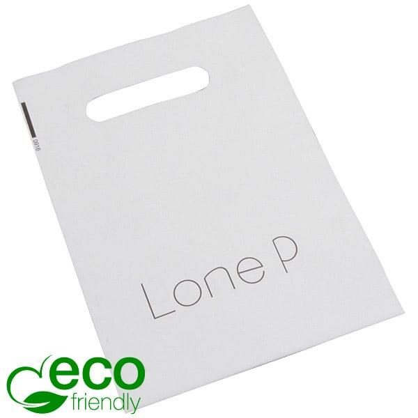 Bedrukte ECO plastic draagtasjes, mini Mat wit gerecycled plastic/ Logo in 1 kleur 180 x 250 50 my