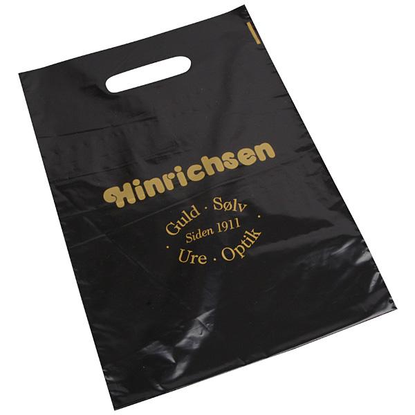 Sac plastique avec impression, moyenne Noir brillant, avec logo monochrome 250 x 350 35 my