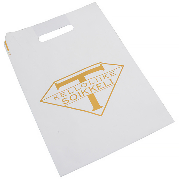Sac plastique avec impression, moyenne Blanc mat, avec logo monochrome 250 x 350 35 my