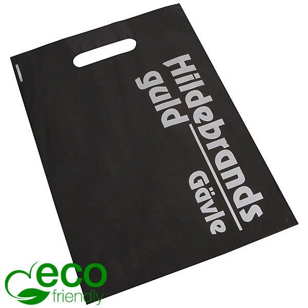 Bedrukte ECO plastic draagtasjes, medium Mat zwart gerecycled plastic/ Logo in 1 kleur 250 x 350 50 my