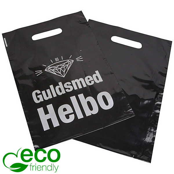 Stevige bedrukte ECO plastic draagtasjes, medium Glanzend zwart gerecycled plastic/ Logo in 1 kleur 250 x 350 70 my