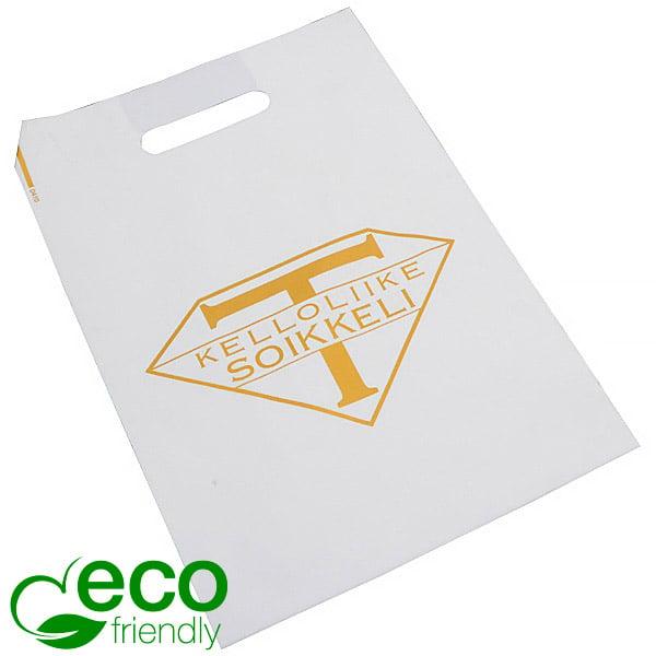 Stevige bedrukte ECO plastic draagtasjes, medium Mat wit gerecycled plastic/ Logo in 1 kleur 250 x 350 70 my