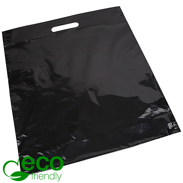 Sacs en plastique ECO avec impression, grand Plastique recyclé noir brillant/ Imprimé 1 couleur 400 x 450 50 my