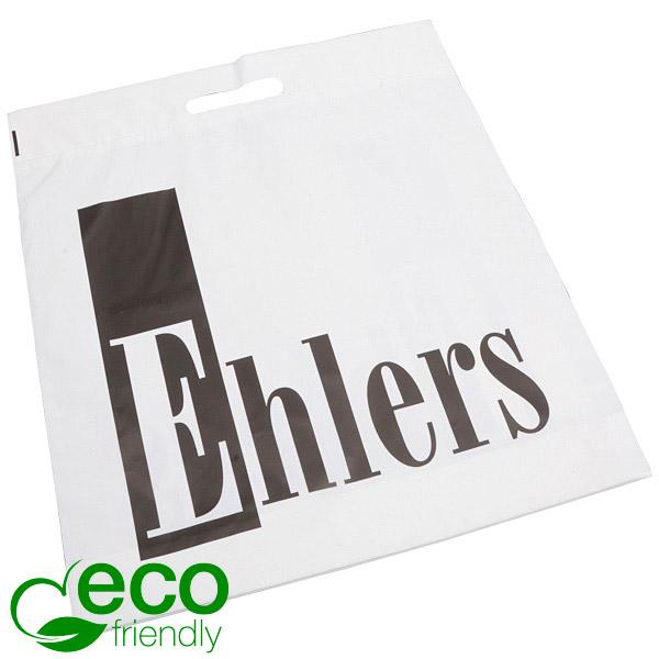 Bedrukte ECO plastic draagtasjes, groot Mat wit gerecycled plastic/ Logo in 1 kleur 400 x 450 50 my