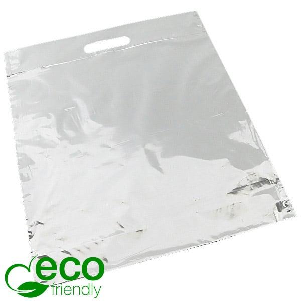 Stevig bedrukte ECO plastic draagtasjes, groot Glanzend wit gerecycled plastic/ Logo in 1 kleur 400 x 450 70 my