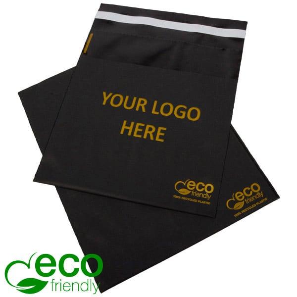ECO Zelfsluitend Verzendzakje met Logobedrukking Mat zwart gerecycled plastic/ Logo in 1 kleur 200 x 200 60 my