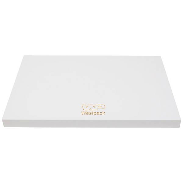Display Podium, klein Hoogglans gelakt wit hout, met bedrukking 350 x 250 x 20