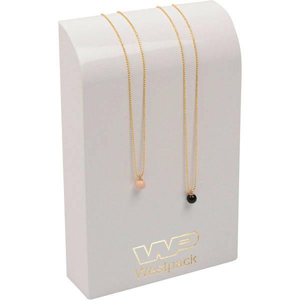 Présentoir bracelet/collier - Vertical, P.M. Bois laqué blanc, avec impression 110 x 170 x 35