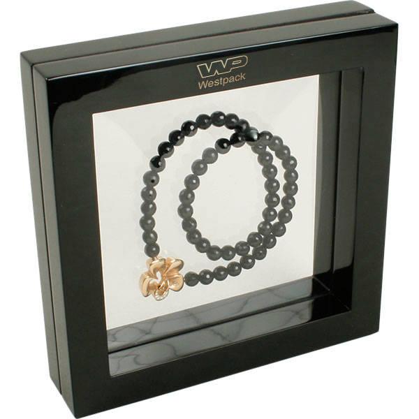 Sieradendisplay met siliconenvenster, medium Hoogglans gelakt zwart hout, met bedrukking 180 x 180 x 40
