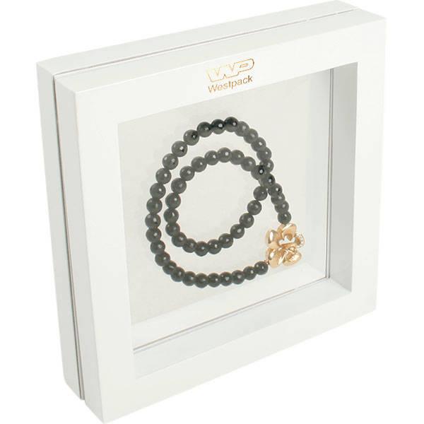 Sieradendisplay met siliconenvenster, medium Hoogglans gelakt wit hout, met bedrukking 180 x 180 x 40
