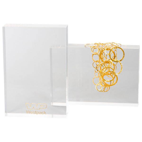 Presentatieblok voor Sieraden, groot Transparant acryl, met bedrukking 220 x 150 x 40