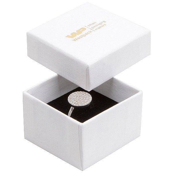 Achat en gros: Boston écrin pour bague Carton blanc, aspect lin / Intérieur mousse noire 50 x 50 x 32