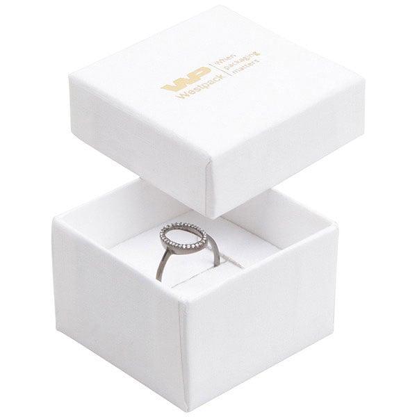 Grootverpakking -  Boston doosje voor ring Wit karton met linnen structuur / Wit foam 50 x 50 x 32