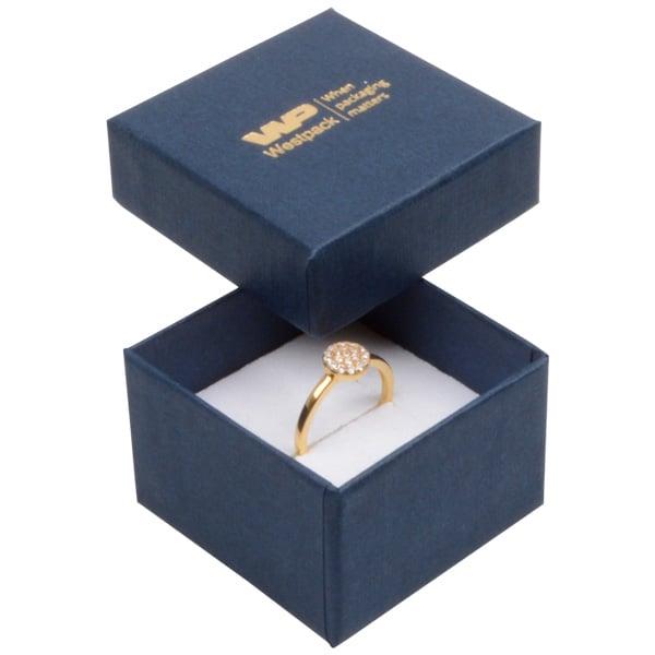 Grootverpakking -  Boston doosje voor ring Donkerblauw karton met linnen structuur/ Wit foam 50 x 50 x 32