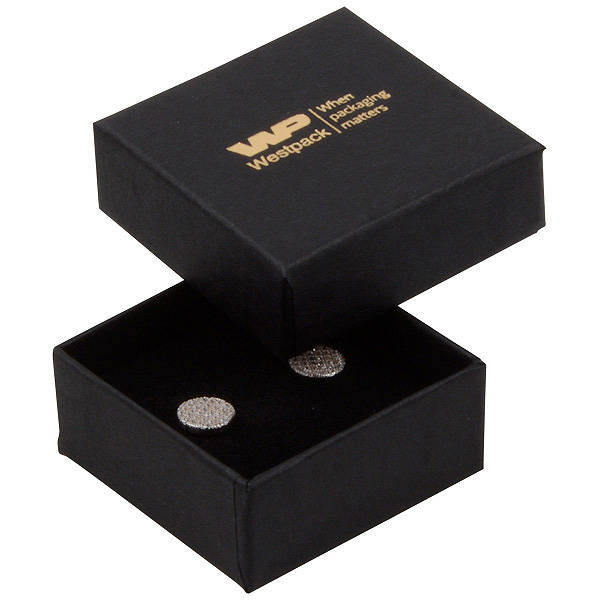 Grootverpakking -  Boston doosje oorsieraden Zwart karton / Zwart foam 50 x 50 x 22