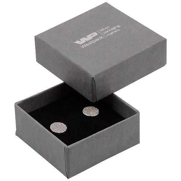 Grootverpakking -  Boston doosje oorsieraden Grijs karton met linnen structuur / Zwart foam 50 x 50 x 22