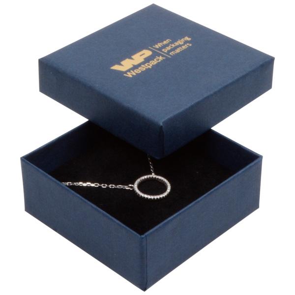 Grootverpakking -  Boston doosje hanger/ broche Donkerblauw karton met linnen structuur/Zwart foam 65 x 65 x 25
