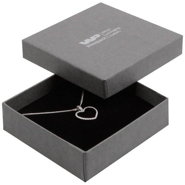 Grootverpakking -  Boston doosje hanger/armband Grijs karton met linnen structuur / Zwart foam 86 x 86 x 26