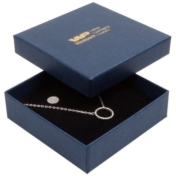 Grootverpakking -  Boston doosje hanger/armband Donkerblauw karton met linnen structuur/Zwart foam 86 x 86 x 26
