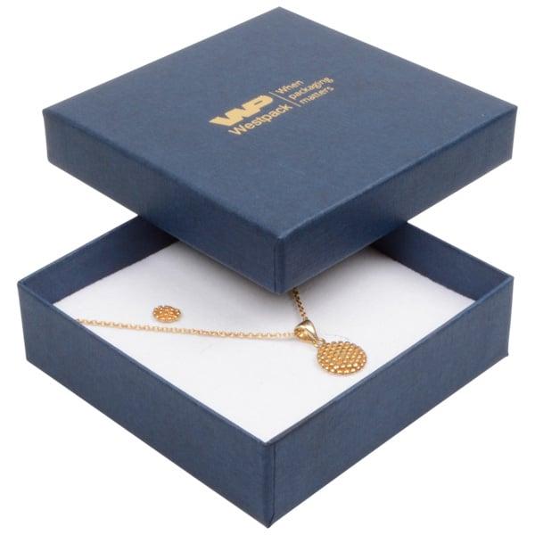 Grootverpakking -  Boston doosje hanger/armband Donkerblauw karton met linnen structuur/ Wit foam 86 x 86 x 26