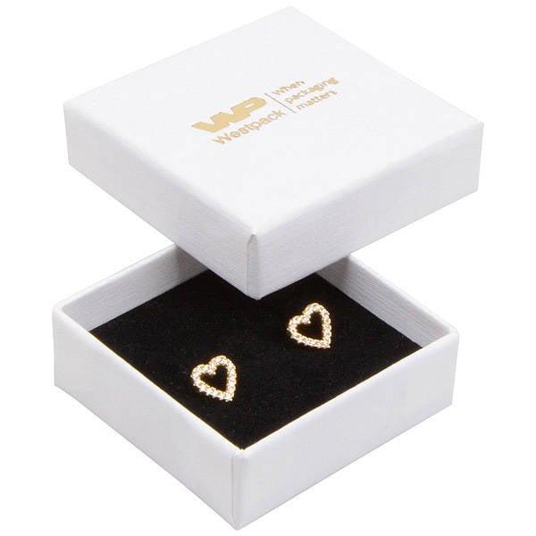 Grootverpakking -  Frankfurt doosje voor ring Wit karton met linnen structuur / Zwart foam 50 x 50 x 17