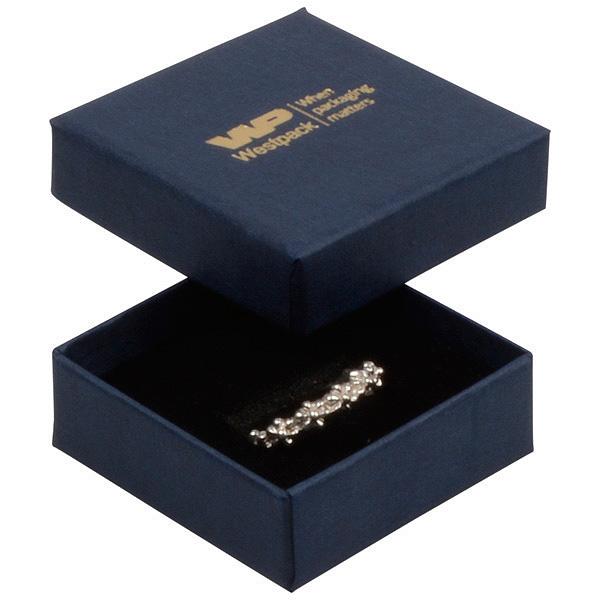 Grootverpakking -  Frankfurt doosje voor ring Donkerblauw karton met linnen structuur/Zwart foam 50 x 50 x 17