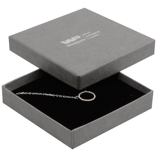 Achat en gros: Frankfurt écrin bracelet/ pendentif Carton gris, aspect lin / Intérieur mousse noire 86 x 86 x 17