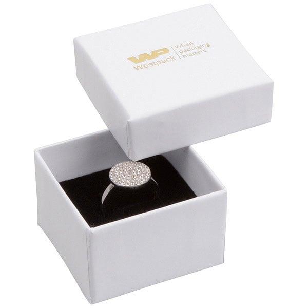 Grootverpakking -  Santiago doosje voor ring Wit Karton / Zwart foam 50 x 50 x 32