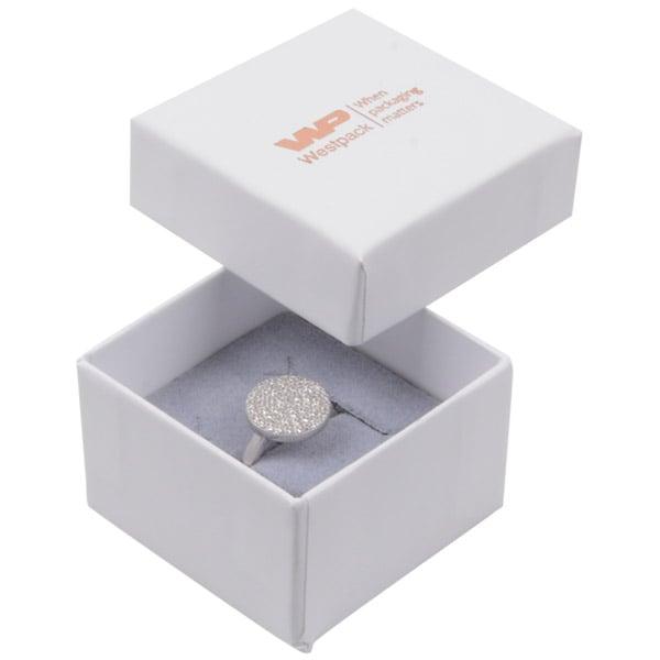 Grootverpakking -  Santiago doosje voor ring Wit Karton / Grijs foam 50 x 50 x 32