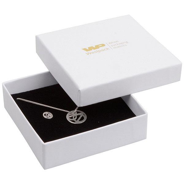 Grootverpakking -  Santiago doosje hanger/armband Wit Karton / Zwart foam 86 x 86 x 26