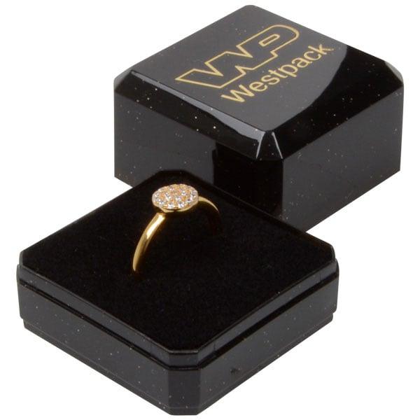 Grootverpakking -  Rio doosje voor ring Zwart plastic met glitter / Zwart foam 40 x 40 x 32