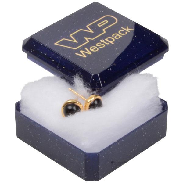 Grootverpakking -  Rio doosje voor ring Blauw plastic met glitter / Witte watten 40 x 40 x 18