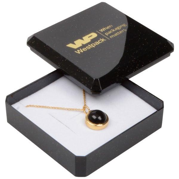 Grootverpakking -  Rio doosje hanger/ broche Zwart plastic met glitter / Wit foam 60 x 60 x 21