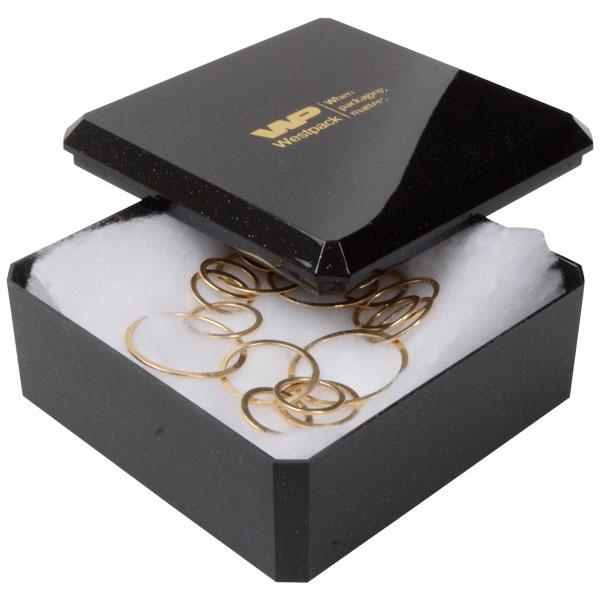 Grootverpakking -  Rio doosje voor horloge, hoog Zwart plastic met glitter / Witte watten 90 x 90 x 40