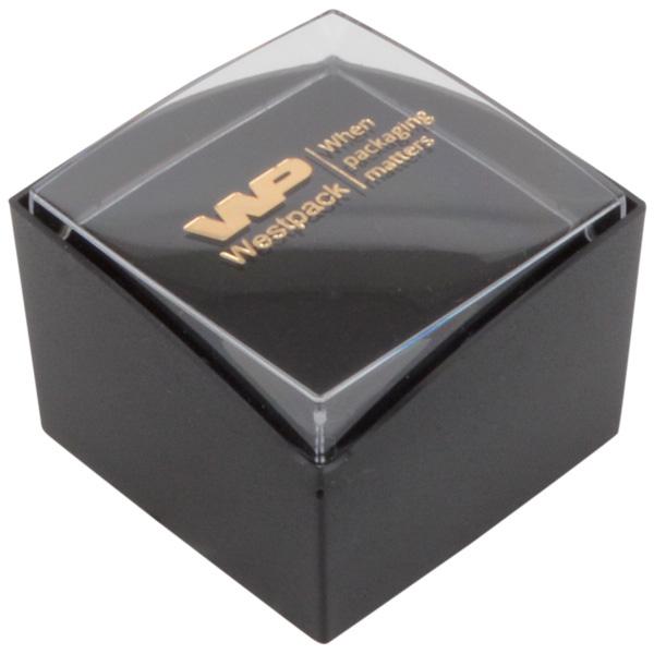 Grootverpakking -  Copenhagen Open doosje ring Transparant deksel, zwarte bodem / Zwart foam 43 x 43 x 32
