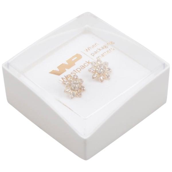 Grootverpakking -  Copenhagen Open doosje oorbel Transparant deksel, witte bodem / Wit foam 43 x 43 x 20