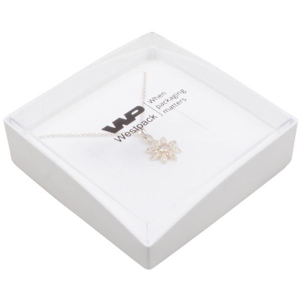 Grootverpakking -  Copenhagen Open doosje armband Transparant deksel, witte bodem / Wit foam 80 x 80 x 24