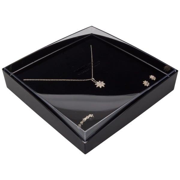 Achat en gros: Copenhagen Open écrin pour collier Couvercle transparent, base noire / Mousse noire 158 x 158 x 33