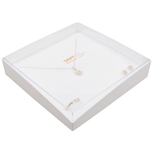 Achat en gros: Copenhagen Open écrin pour collier Couvercle transparent, base blanche/Mousse blanche 158 x 158 x 33