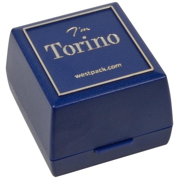 Grootverpakking -  Torino doosje voor ring Blauw plastic met zilveren bies / Zwart foam 44 x 47 x 33